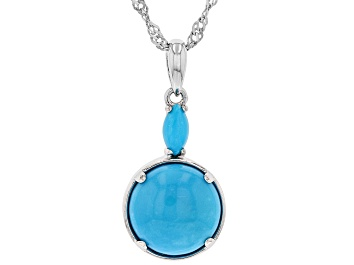 Picture of Blue Turquoise Rhodium Over Silver Pendant With Chain