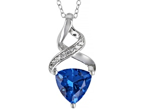 Blue Lab Created Spinel Rhodium Over Silver Pendant With Chain 2.45ctw