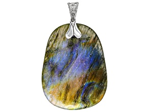 Gray Labradorite Rhodium Over Sterling Silver Enhancer Pendant