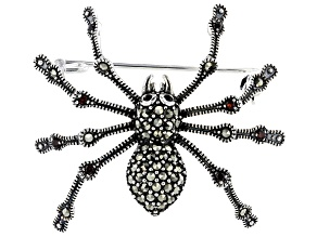 Red garnet spider sterling silver brooch 0.96ctw
