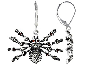 Red garnet spider silver dangle earrings .25