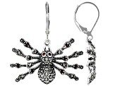 Red garnet spider sterling silver dangle earrings 0.77ctw