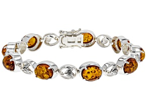 Orange Amber rhodium over silver bracelet