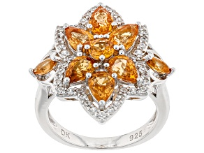 Orange Mandarin Garnet Rhodium Over Silver Ring 3.89ctw
