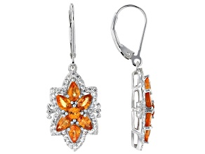 Orange Spessartite Rhodium Over Silver Earrings 3.95ctw