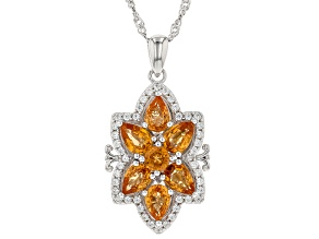 Orange Mandarin Garnet Rhodium Over Silver Pendant With Chain 3.73ctw