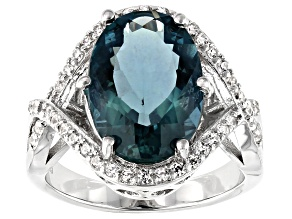 Teal Fluorite Rhodium Over Silver Ring 6.85ctw