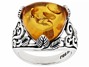 Orange amber rhodium over silver solitaire ring
