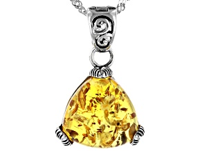 Orange amber rhodium over silver enhancer with chain