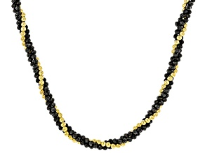 Black Spinel 18k Yellow Gold Over Silver Necklace