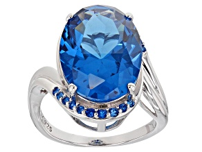 Blue Lab Created Spinel Rhodium Over Silver Ring 8.99ctw