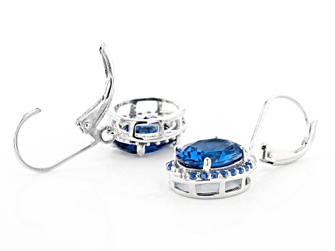 Blue Lab Created Spinel Rhodium Over Silver Earrings 5.49ctw