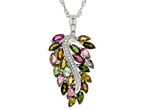 Multi-color Tourmaline Rhodium Over Silver Pendant With Chain 2.70ctw