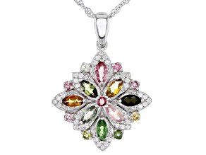 Multi-Color Tourmaline Rhodium Over Silver Pendant With Chain 1.43ctw