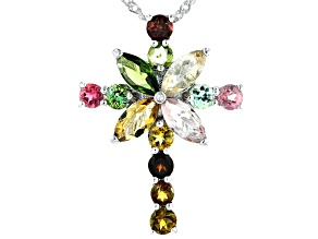 Multi-Tourmaline Rhodium Over Silver Pendant With Chain 2.66ctw