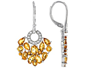 Golden Citrine Rhodium Over Silver Earrings 4.36ctw
