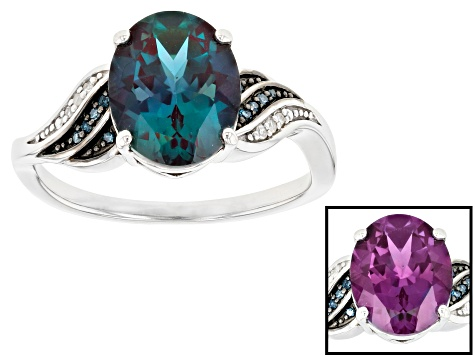 Blue Lab Created Alexandrite Rhodium Over Silver Ring 2.58ctw