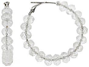 Rondelle Double Terminated Quartz Rhodium Over Sterling Silver Hoop Earrings