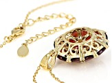 Red garnet 18k gold over silver pendant with chain 6.18ctw