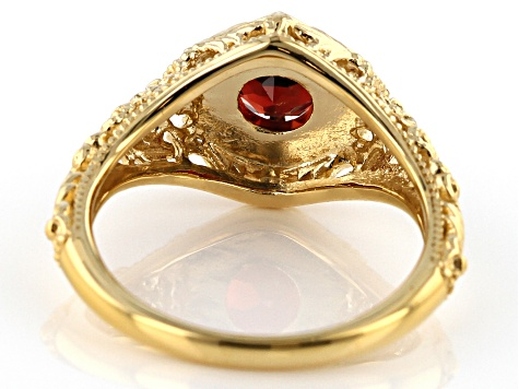 Red garnet 18k yellow gold over sterling silver ring .92ct