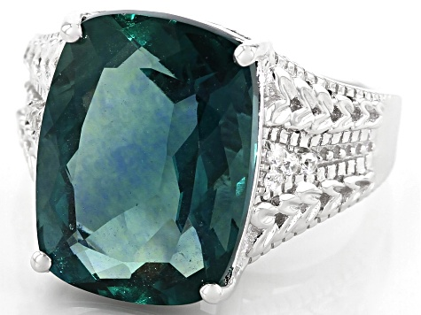 Teal Fluorite Rhodium Over Silver Ring 11.27ctw