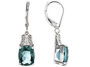 Teal Fluorite Rhodium Over Silver Earrings 6.94ctw