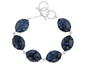 Blue Dumortierite Rhodium Over Silver Bracelet