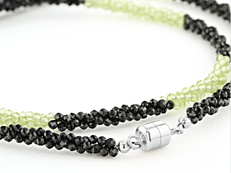 Black Spinel and Green Peridot Rhodium Over Sterling Silver Bead Necklace