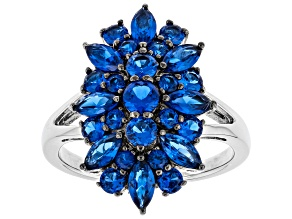 lab created Blue spinel rhodium over sterling silver ring 2.10ctw