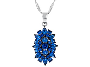 Lab created Blue spinel rhodium over sterling silver pendant with chain 2.10ctw