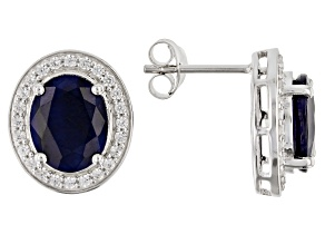 Blue Sapphire Rhodium Over Silver Stud Earrings 5.53ctw