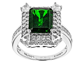 Green Russian Chrome Diopside Sterling Silver Ring 4.97ctw