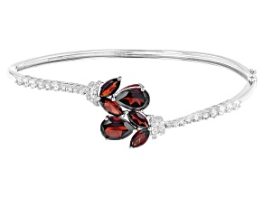 Red Garnet Sterling Silver Bangle Bracelet 8.71ctw