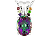 Multicolor Quartz Sterling Silver Pendant With Chain 1.38ctw