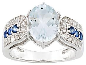 Blue Aquamarine Sterling Silver Ring 2.34ctw
