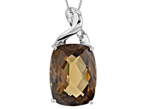 Brown Smoky Quartz Sterling Silver Pendant With Chain 9.73ctw