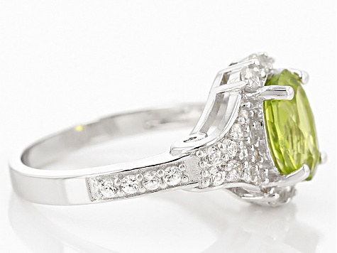 Green Peridot Sterling Silver Ring 2.51ctw