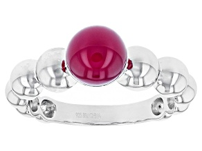 Pink Onyx Sterling Silver Bead Ring