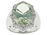 Green Prasiolite Sterling Silver Ring 8.50ctw