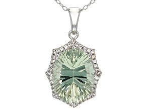 Green Prasiolite Sterling Silver Pendant With Chain 8.50ctw