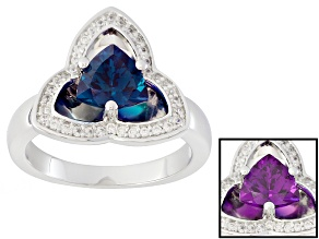 Lab Created Color Change Alexandrite Sterling Silver Ring 1.42ctw