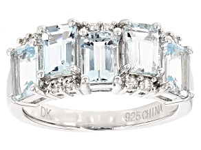 Blue Aquamarine Sterling Silver Ring 2.94ctw