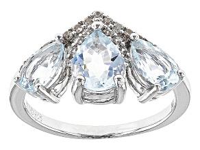 Blue Aquamarine Sterling Silver Ring 1.87ctw
