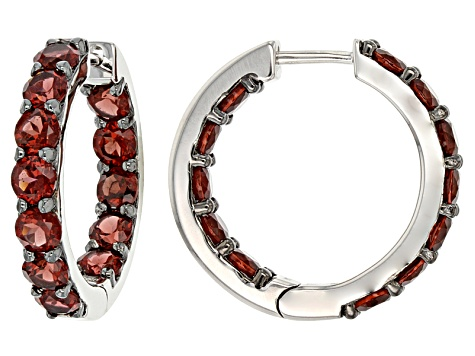 Red Garnet Sterling Silver Hoop Earrings