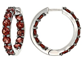 Red Garnet Rhodium Over Sterling Silver Hoop Earrings