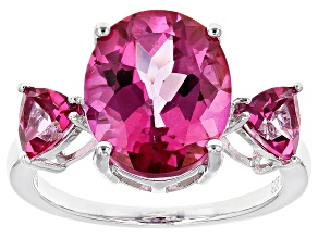 Pink Topaz Sterling Silver Ring 5.94ctw