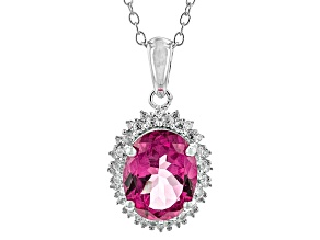 Pink Topaz Sterling Silver Pendant With Chain 3.14ctw