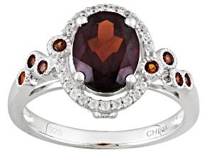 Red Garnet Sterling Silver Ring 2.48ctw