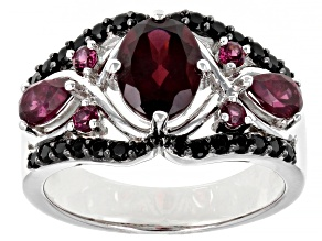 Purple Rhodolite Sterling Silver Ring 2.74ctw