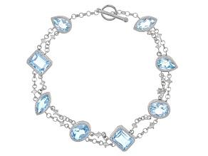 Sky Blue Topaz Sterling Silver Bracelet 14.25ctw